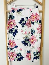 Alannah Hill White Pink Floral Print Lipstick Kisses Pencil Skirt Size 8 AS NEW