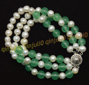 3 Rows Natural 7-8mm White Akoya Pearl &Green Emerald Round Gems Bracelets 7.5''