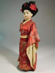 """16"""" BISQUE ANTIQUE REPRODUCTION """"BSW"""" TRADITIONAL JAPANESE LADY DOLL IN A KIMONO"""