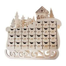 Sleigh Wooden Calendar Countdown Christmas Party Decor 24 Drawers with LED Light