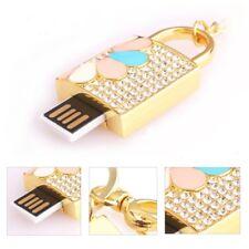 Clé USB cadenas PORTE-CLE de sac mousqueton Swarovski®Elements  8 gb doré luxe