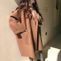 Fashion Women's Korean Loose Mid Long Coat Long Sleeve Outwear Jacket Overcoat