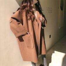 Fashion Korean Women's Long Sleeve Loose Mid Long Coat Outwear Jacket Overcoat