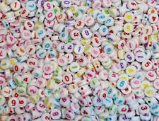 0-numéros 9 et # perles-numb 02 100 x 7mm couleurs mélangées-nombre de perles