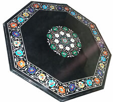 """36"""" black Marble coffee / sofa multi stones inlay Table Top marquetry art"""