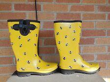 B WOMENS RANGER YELLOW RUBBER HONEY BEE PRINTED RAIN BOOTS 7 M 1089