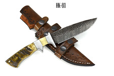 Damascus Hunting Knife Ram Horn Handle With Leather Sheath Full Tang Fire Patern