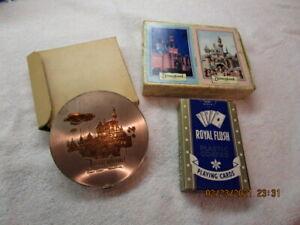 Vintage Disneyland Walt Disney Productions NIB Souvenir COMPACT & PLAYING CARDS