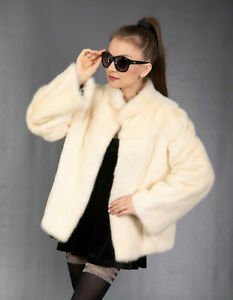 9657 SUPER ELEGANT REAL WHITE MINK COAT LUXURY FUR JACKET BEAUTIFUL LOOK SIZE M
