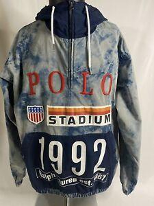 Polo Ralph Lauren 1992 Indigo Stadium Oversized Pullover Jacket Size Medium