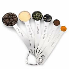 Stainless Steel Measuring Spoons, Set of 6 for Measuring Dry and Liquid