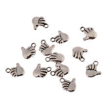 Thumbs up hand ok Tibetan Silver 3D Bead charms Pendants fit bracelet 10pcs