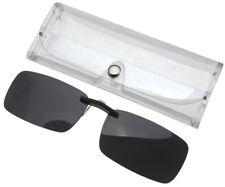 Frameless Driving Polarized Clip on Glasses Lens Sunglasses UV400 Dark Grey