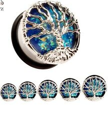 Blue Opal Stone Tree Of Life Stretcher Earing Flesh Tunnel Ear Plug Saddle Wicca