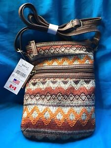 New Claire's Tribal Cloth Yarn Dye Crossbody Purse Faux Brown Leather Straps