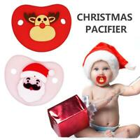 Baby Dummy Pacifier Soother Teat Silicone Santa Pattern Pacifier Xmas Gift
