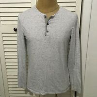 VINCE Men's Long Sleeve T-Shirt Henley Style Gray Heather Gray Size Medium