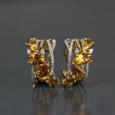 2 Ct Pear Citrine & Sim Diamond Women's Clip On Earring 14k Yellow Gold Plated