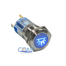 Durable Steel 12V 16mm Car Push Latching Button Blue Dome Light LED Switch
