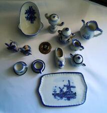 Konvolut Puppenstuben Zubehör Sammlung Porzellan- blau weiß 15 Teile