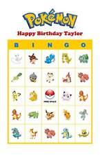 Pokemon Birthday Party Game Bingo Cards Basic Pokemon