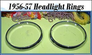Corvette 1956 1957 Headlight Bucket Trim  Ring  Chrome Bezels Pair