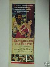 1952 BLACKBEARD THE PIRATE,W.BENDIX-L.DARNELL PRINT AD