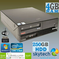 Fast Lenovo ThinkCentre Media Centre Budget Cheap Desktop PC 4GB WiFi WINDOWS 7