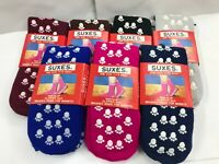 Men Women Thermal Indoor Slipper Socks Non-Slip gripper Black Blue Pink Grey