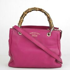 Gucci Hot Pink Leather Small Bamboo Handle Crossbody Bag 336032