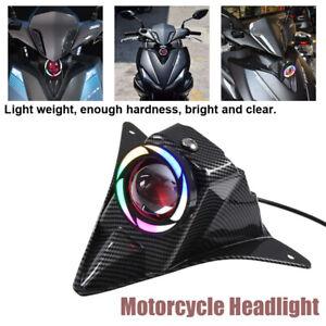 Universal Motorcycle Electric Bike Street Headlight LED Headlamp Carbon Lamphade