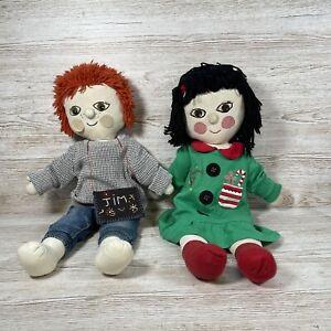 Vintage Handmade Homemade Rosie And Jim Large Rag doll Plush Toys Not Original