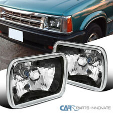 7X6 Black Clear Square Replacement Headlights Head Lamps H4 H6054 Conversion Kit