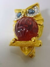 Vintage Signed Kenneth Jay Lane Ruby Red Clear Rhinestone Owl Pin Brooch