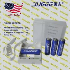 JUGEE 4pcs. 1.5V 3000mWh AA Lithium Li-Ion LiB Rechargeable Batteries w/ CHARGER