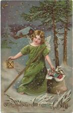 Christmas, Angel in the Dark Forest with a Lantern and Presents, Old Embossed Pc