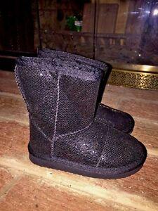 BLACK DIAMOND SPARKLE GLITTER Baby Gap Girls FASHION Cowboy BOOTS TODDLER Sz 7 ❤