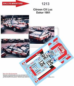 DECALS 1/18 REF 1213 CITROEN CX LUC RALLYE PARIS DAKAR 1981 RALLY