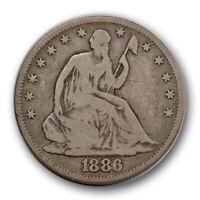 1886 50c Seated Liberty Half Dollar Very Good VG Original Toned Key Date R902