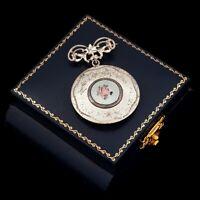 Antique Vintage Deco Sterling Silver Rhodium Guilloche Enamel Locket Pin Brooch