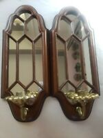 Vintage Pair Faux Wood Ornate Mirrored Candle Holder Sconce Wall Hanging 7x18