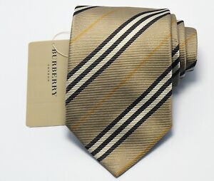 "NEW Burberry KHAKI STRIPES Mans 100% Silk Tie Authentic Italy Made 3.5"" 0350214"