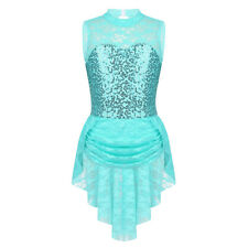 Girls Kids Floral Lace Ice Skating Dress Sequined Competition Gymnastics Dresses