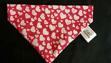Slide on dog bandana size S in red with small white hearts polycotton