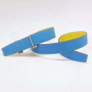Handmade 38mm Reversible Blue Yellow Epsom leather belt Size 85 Free Shipping