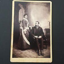 ca 1890 Antique Cabinet Card Photo Couple Handlebar Mustache Victorian Backdrop
