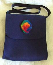 Dunkelblaue Tasche aus Filz - Original Jemako mit Wollfilz-Applikation
