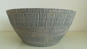 "Sand Thatched Decorative Plastic Bowl Planter 14"" In Ebony Grey - No Drainage ho"