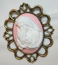 Lovely Sculpted Pink Madonna & Child Cameo Brasstone Religious Brooch