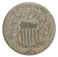 1874 5c ANACS VF-30 DETAILS REPUNCHED DATE ~ F-03 SHIELD NICKEL RPD VARIETY